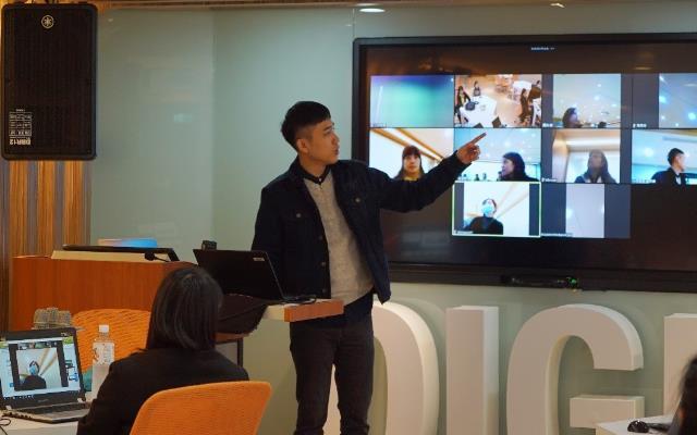圖1:針對遠距互動直播教學協助新住民教師學習遠距軟體操作及提升遠距教學技巧