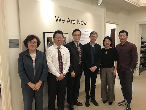 杜克大學亞洲研究系主任Dr. Leo Ching、亞洲研究系李坤珊教授、亞太國際事務研究中心主任Dr. Giovanni Zanalda、遲耀宗組長、林逸秘書、亞洲研究系李燕教授